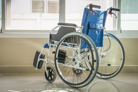 A wheelchair with a window, side view photo Stockfoto