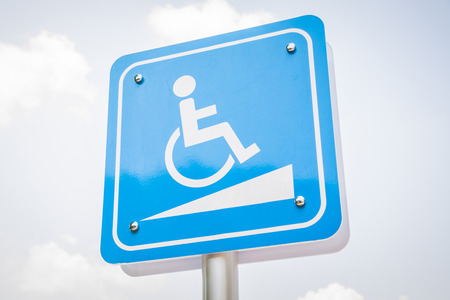 parking sign for wheelchair with sky background Stockfoto - 111019264