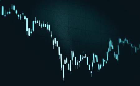 candlestick chart with black background, blue monotone color candlestick Banco de Imagens