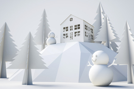 3d model winter and christmas concept, white isolated background Stockfoto - 111019372