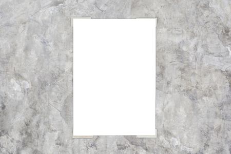 white paper with gray polished concrete wall background for write somting Stockfoto - 111019453