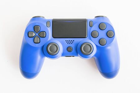 A joystick controller on the white isolated background, blue colored