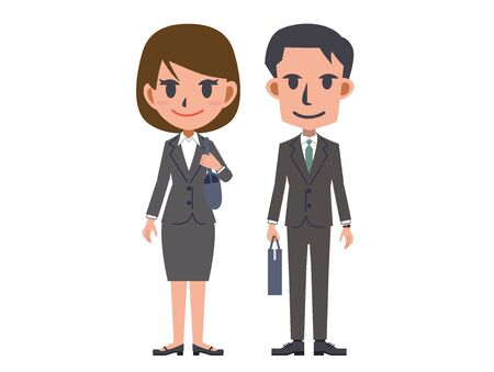 A full-body image of a man and a woman in a suit