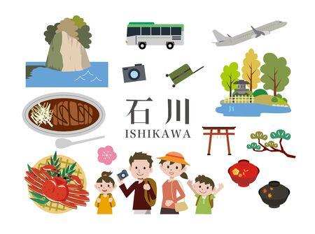 Ishikawa Tourism Travel Vektorové ilustrace