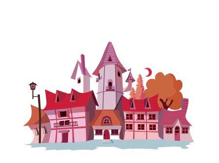 Medieval European Townscape 矢量图像
