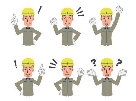 Construction worker expression set