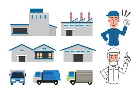 Factory Worker Set Illustration Illustration