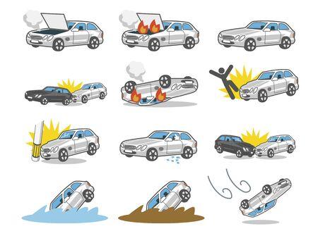Car Accident Illustrations Vektorové ilustrace