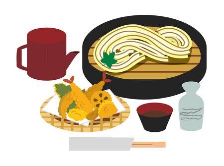 Udon Cooking Illustrations Vektorové ilustrace