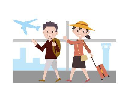 Couple Travel Airplane