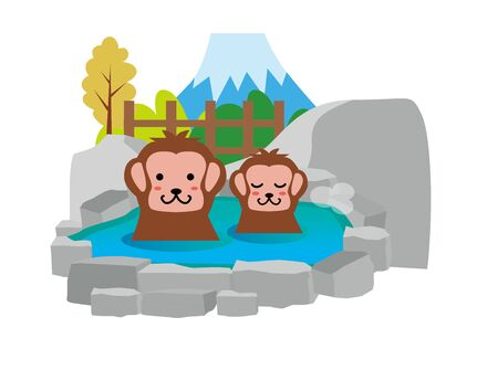 Hot Spring Monkey Bathing Vectores
