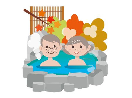 Hot Spring Old Couple Autumn