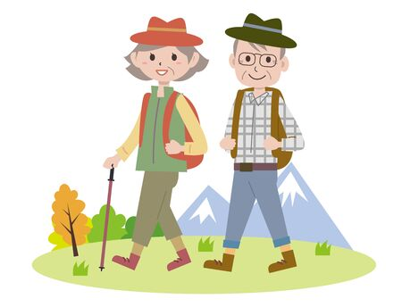 An old couple hiking
