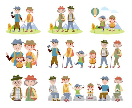 A set of hiking illustrations for the family