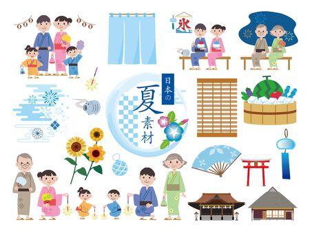 Japanese summer material illustration set