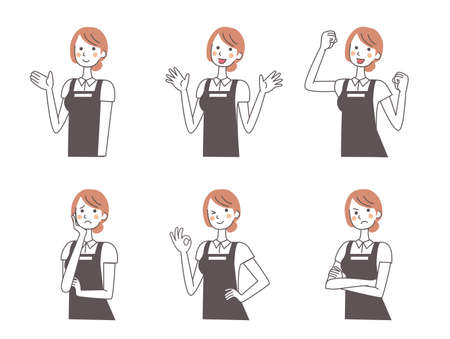The expression set of the female café clerk