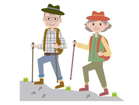 The elderly climb the mountain.