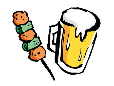 Hand-written illustrations of beer and yakitori