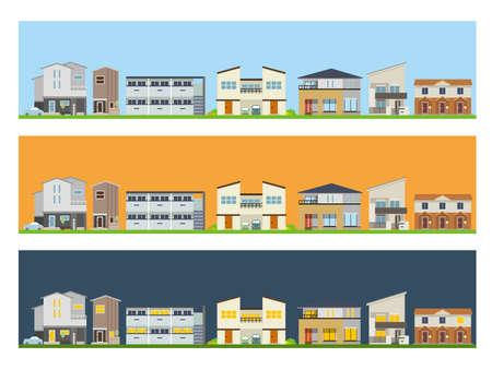 Time zone scene of residential area Vecteurs