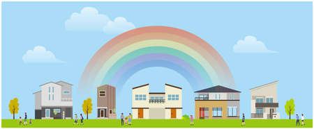 Residential Area Building Landscape  イラスト・ベクター素材