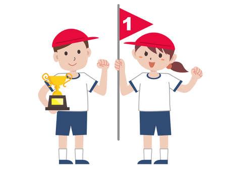 School Sports Festival Sports Day Winner Vektoros illusztráció