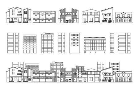 Architectural Buildings House Building Line Drawings Illusztráció