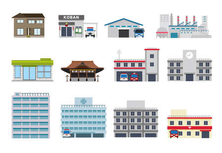 Townscape Shop Public Facilities Set Illustration