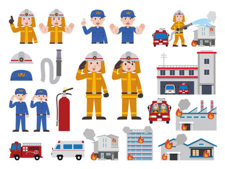 Firefighter Illustration Set Illustration
