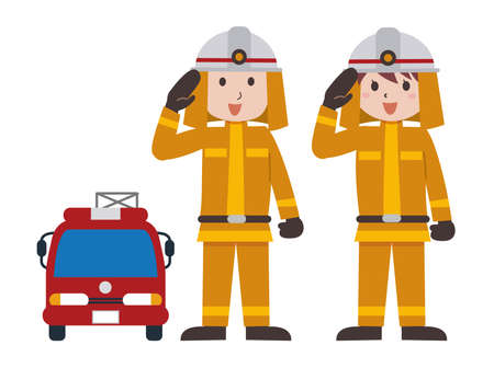 Firefighters Men and Women Fire Department Illustration