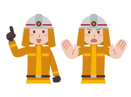 Firefighters Pointing Attention Illustration