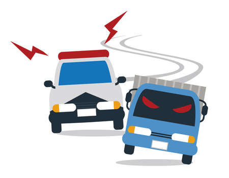 Police car chase Illustration
