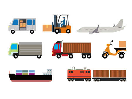 Delivery and logistics illustration set