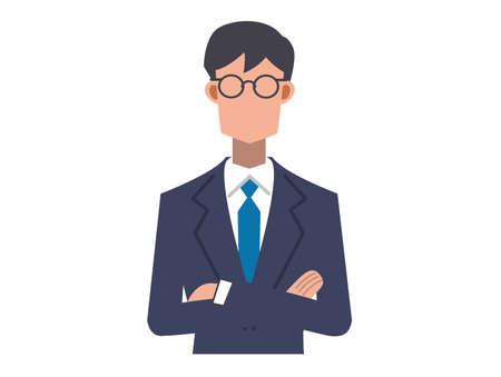 a salaryman with arms folded