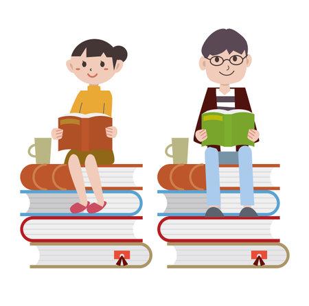 Young people Reading Book Ilustración de vector