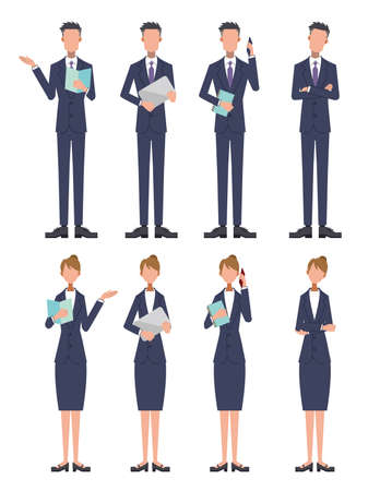 Business Young Man and Woman Suit White Background Set