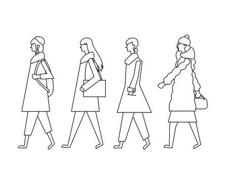 Pedestrian Young Woman Sideways