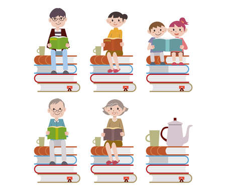 a family sitting reading a stack of books