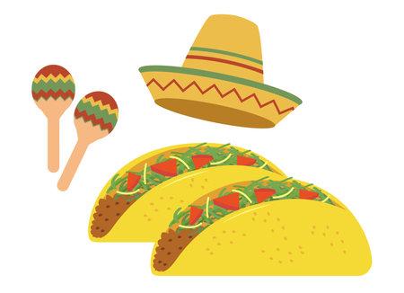 Tacos Mexican Cuisine Иллюстрация