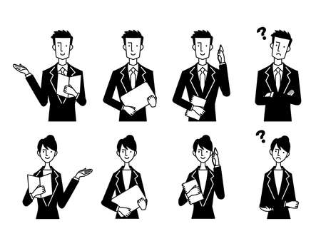Business Male Female Gesture Black and White