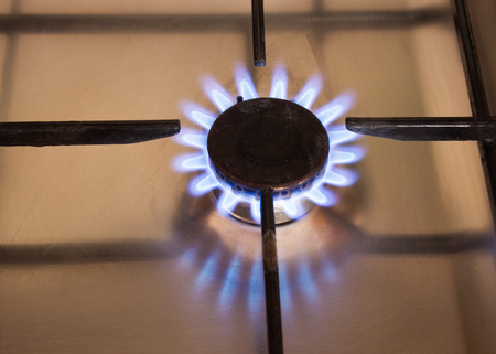 combust: Energy. Blue natural gas flames in kitchen Stock Photo