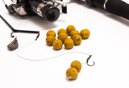 fishing rig: Boilies - Fishing Bait and accessories isolated on white