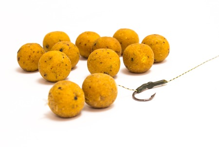 Boilies - Big Carp Fishing Bait isolated on white 写真素材