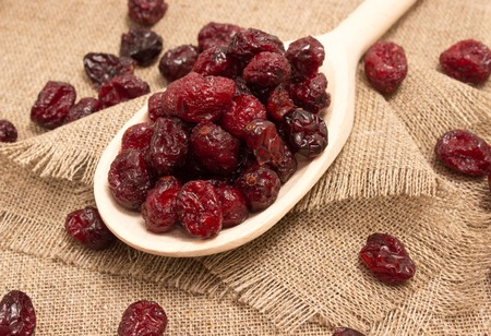diet supplements dried cranberries on canvas