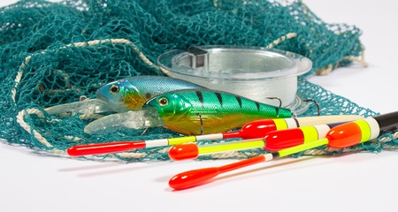 wobbler: bait, wobbler and fishing accessories isolated on white Stock Photo