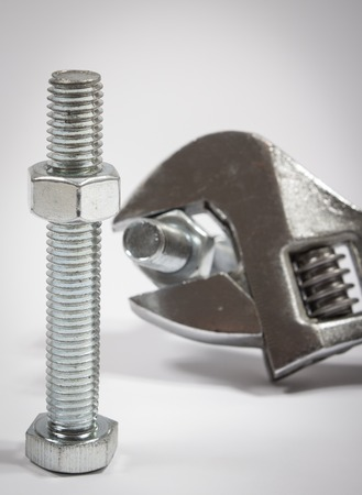 hardware: Hardware adjustable wrench, closeup on white background