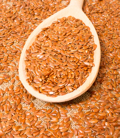 flaxseed: flaxseed on canvas background with a wooden spoon