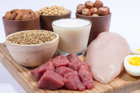 protein source: Various sources of plant and animal protein.