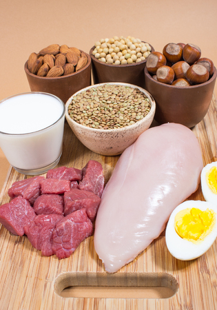 Verschillende bronnen van plantaardige en dierlijke eiwitten. Stockfoto