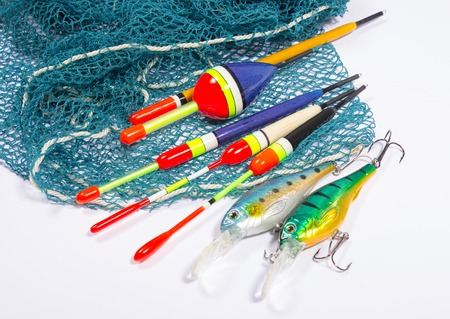bait, wobbler and fishing accessories isolated on white Stock Photo
