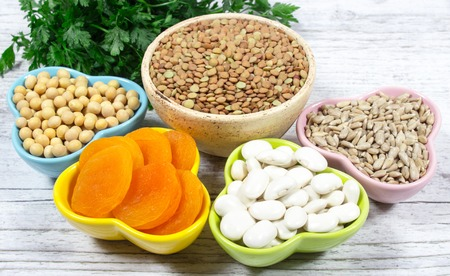 ferrum: Natural sources of ferrum.  The concept of a vegetarian diet. Stock Photo